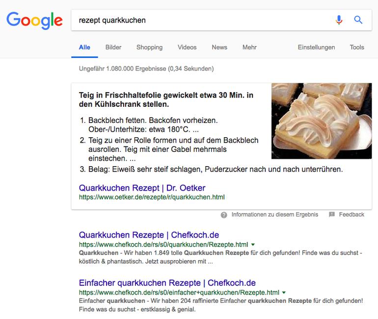 SEO: Featured Snippet in den Google Suchergebnissen
